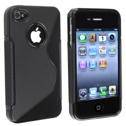 AccStation Black S-Shape TPU Rubber Skin Case for Apple iPhone 4