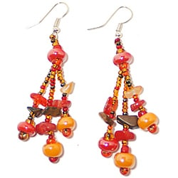 Luzy Autumn Glass Bead Earrings (Guatemala)