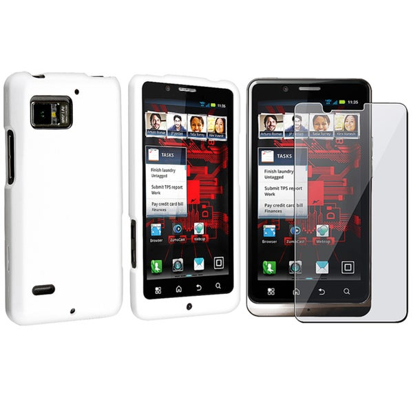 White Case/ Screen Protector for Motorola Droid Bionic XT875