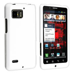 White Snap-On Rubber-Coated PVC Case for Motorola Droid Bionic XT875