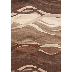 Alliyah Handmade Tobacco Brown New Zealand Blend Wool Rug(8'x 10')