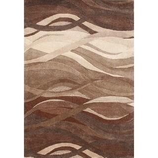 Alliyah Handmade Tobacco Brown New Zealand Blend Wool Rug(8'x 10')