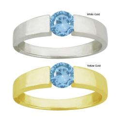 10k Gold Blue Cubic Zirconia Bold Contemporary Round Ring