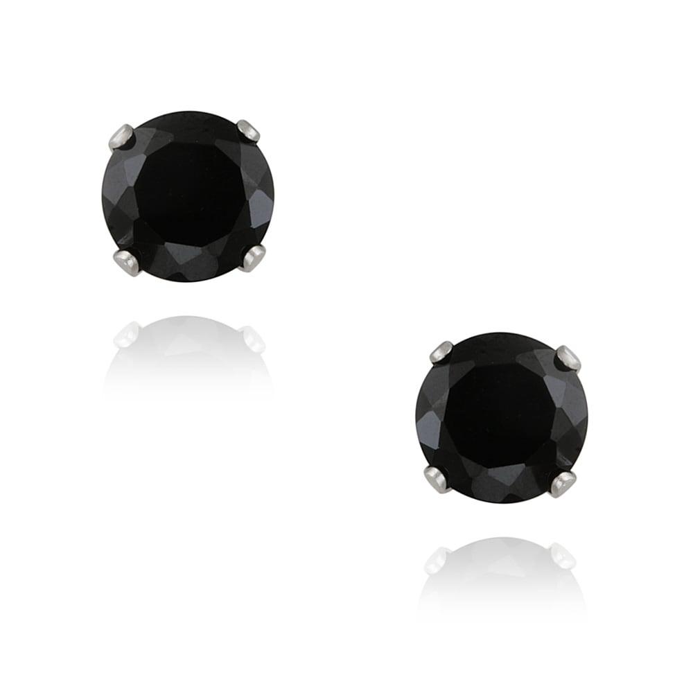 Glitzy Rocks Sterling Silver 3 1/5ct TGW 7mm Black Spinel Stud Earrings