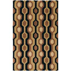 Hand-tufted Brown/Black Contemporary Letchworth Wool Geometric Rug (9' x 12')