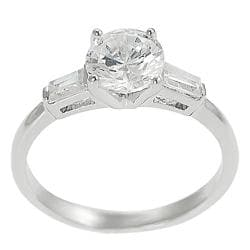 Tressa Collection Silvertone Baguette- Round CZ Bridal Engagement Ring