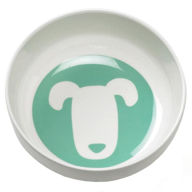 Ore Shadow Melamine Seven-inch Three-cup Dog Bowl in Retro Aqua