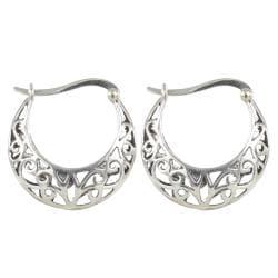 Sunstone Sterling Silver Filigree Antiqued Round Hoop Earrings