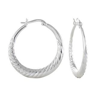 Sterling Silver Scalloped Edge Click Top Hoop Earrings