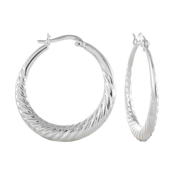 Sterling Silver Scalloped Edge Click Top Hoop Earrings