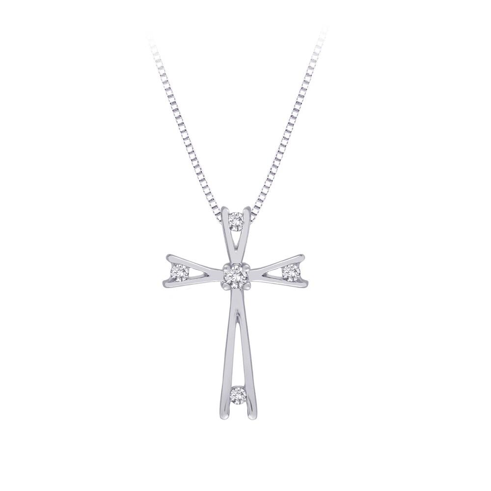 10k White Gold 1/10ct TDW Diamond Cross Necklace (G-H, I2-I3)
