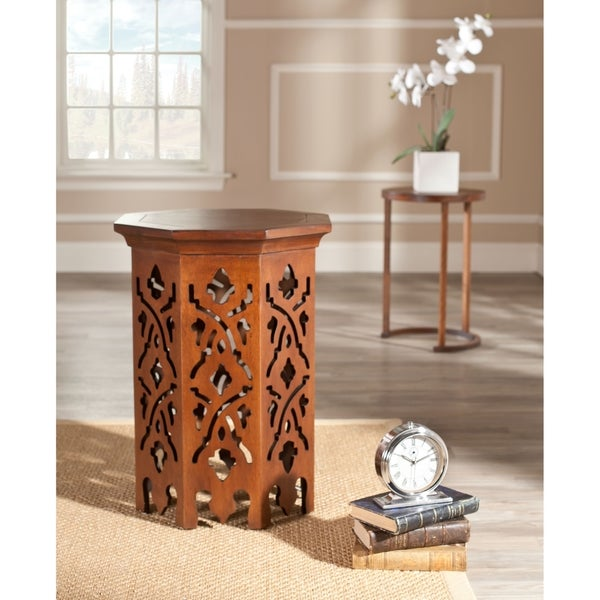 Safavieh Bali Brown Hexagon End Table