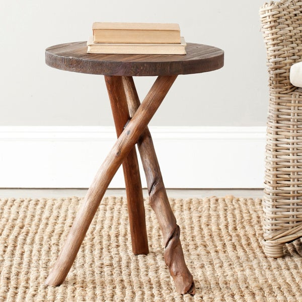 Safavieh Bali Brown Tripod Round End Table