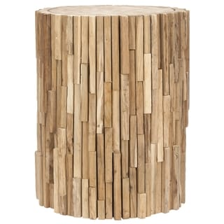 Safavieh Bali Teak Strips Round End Table