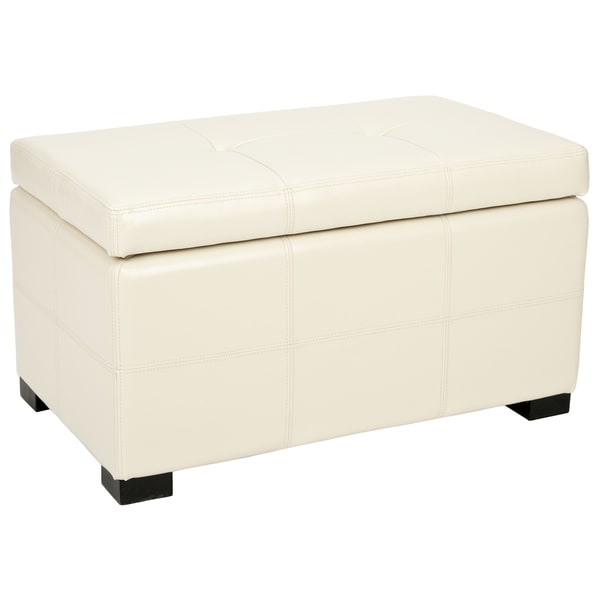 Safavieh Maiden Tufted Cream Bicast Leather Storage Bench