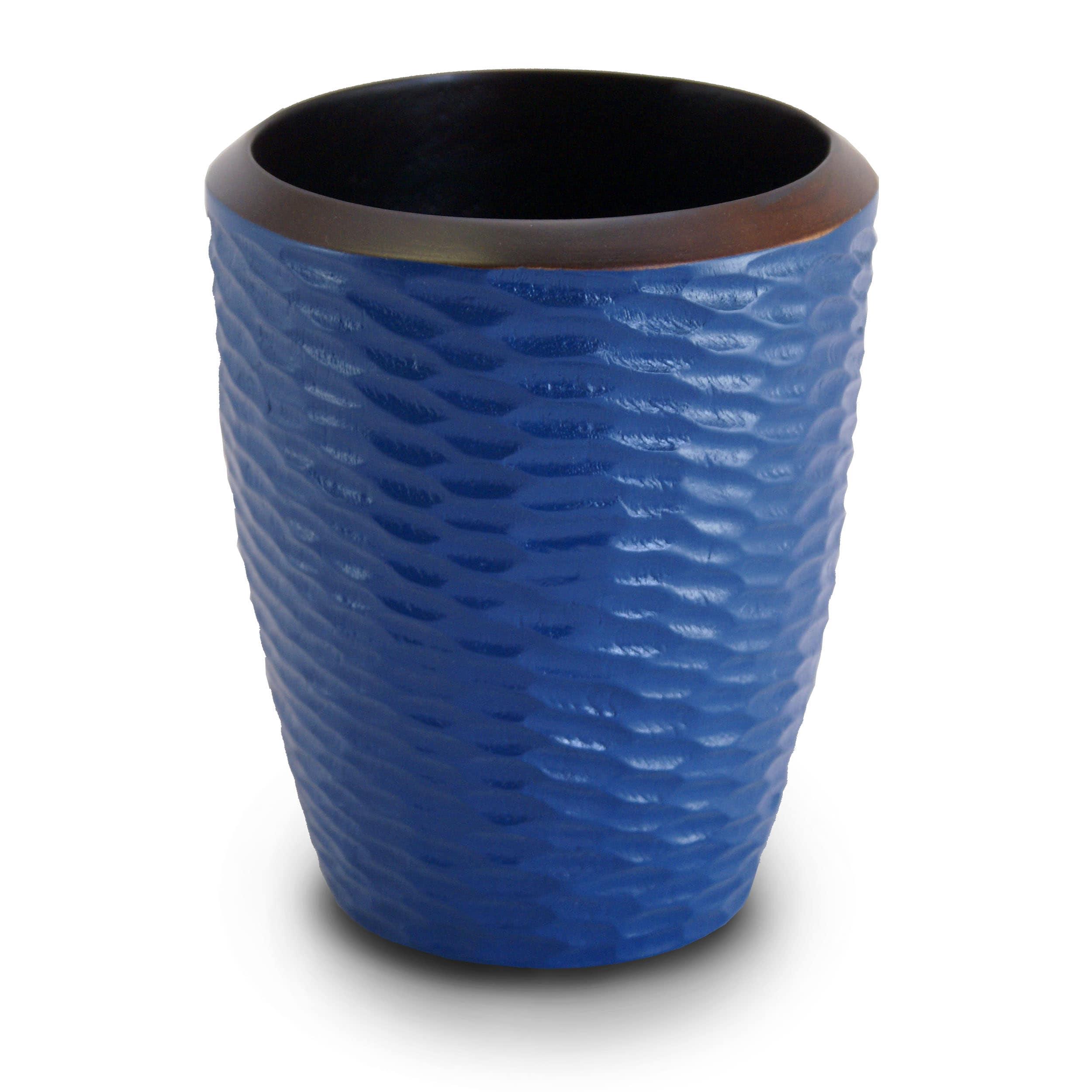 Deep Blue Mango Wood Utensil Vase (Thailand)