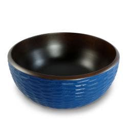 Deep Blue Mango Wood 3-piece Serving Bowl Set (Thailand)