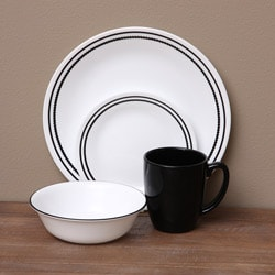 Corelle Livingware Brilliant Black Beads 16-piece Dinnerware Set