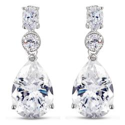 Miadora Sterling Silver Cubic Zirconia Dangle Earrings (18ct TGW)