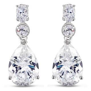 M by Miadora Sterling Silver Cubic Zirconia Dangle Earrings (18ct TGW)