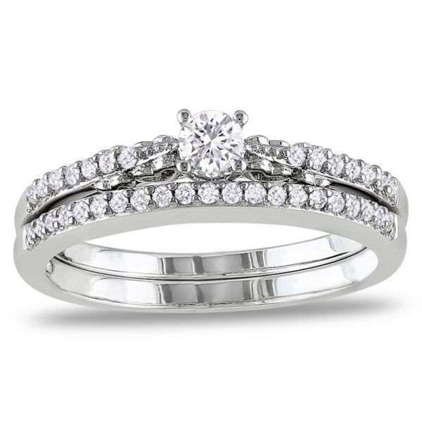 Miadora 10k White Gold 1/3ct TDW Diamond Anniversary Style Engagement Ring and Wedding Band Set (G-H, I2-I3)