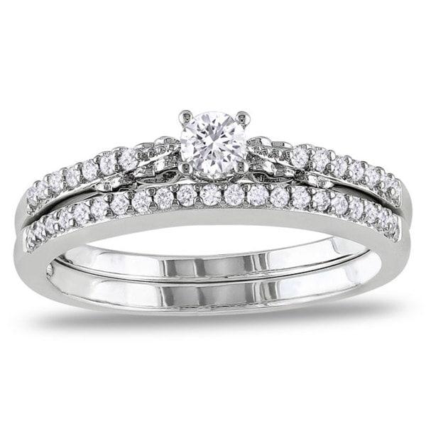 Miadora 10k White Gold 1/3ct TDW White Diamond Ring Set (G-H, I2-I3)