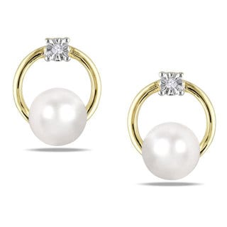 Miadora 10k Yellow Gold White Cultured Freshwater Pearl and Diamond Accent Stud Earrings (5.5-6 mm)