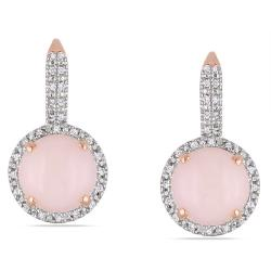 Miadora Rose Plated Silver Opal and 1/5ct TDW Diamond Earrings (G-H, I2-3) (6ct TGW)