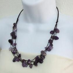 Purple Cotton Rope Floating Amethyst Triple Strand Necklace (Thailand)