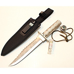 The Bone Edge Heavy Duty Stainless Steel Hunting Knife W Survival Kit & Fire Starter (14')