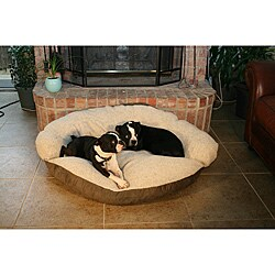 Round 35-inch Green Microsuede Bolster Sherpa Dog Bed