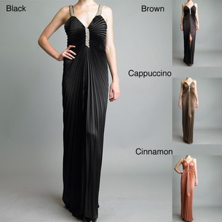 Issue New York Women's Long Pleated Rhinestone Evening Gown