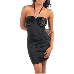 Stanzino Women's Black Rhinestone Strap Dress
