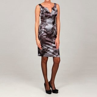 London Times Women's Printed Satin Sleeveless Sheath Dress
