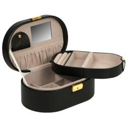WOLF Chelsea Faux-leather Oval Jewelry Box with Removable Travel Case