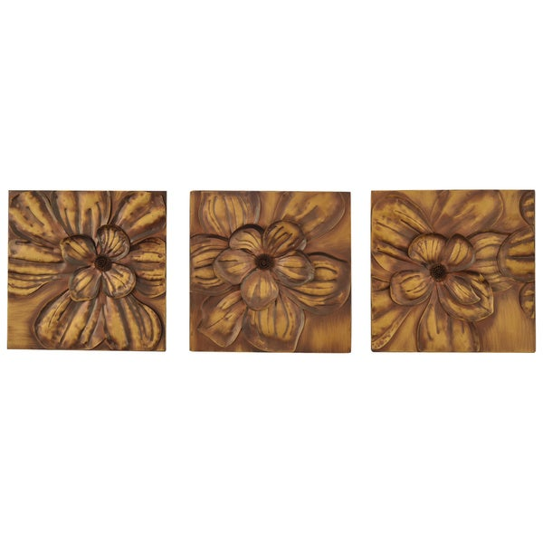 Baxley 3-Piece Metallic Gold Metal Wall Panel Set