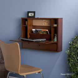 Florien Wall-Mount Brown Mahogany Laptop Desk