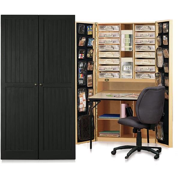 Craftbox Antique Black Beadboard Storage Cabinet