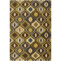 Meticulously Woven Contemporary Brown/Green Medallion Ferndown Abstract Rug (7'10 x 10')