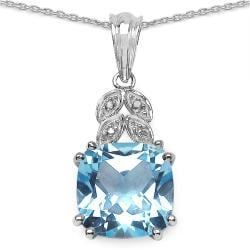 Malaika Sterling Silver Blue Topaz and Diamond Accent Necklace