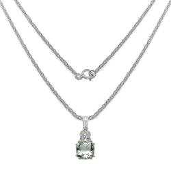 Malaika Sterling Silver Green Amethyst and Diamond Accent Necklace