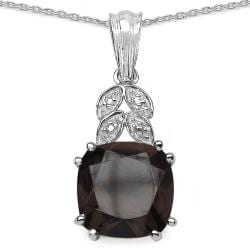 Malaika Sterling Silver Smokey Topaz and Diamond Accent Necklace