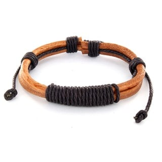 Brown Leather Shocker Tie Knot Bracelet
