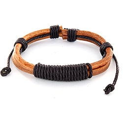 West Coast Jewelry Brown Leather Shocker Tie Knot Bracelet