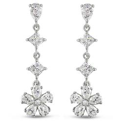 Miadora Sterling Silver Cubic Zirconia Drop Earrings (15 1/3ct TGW)