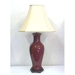 Tall Red Oxblood Fluted Table Lamp