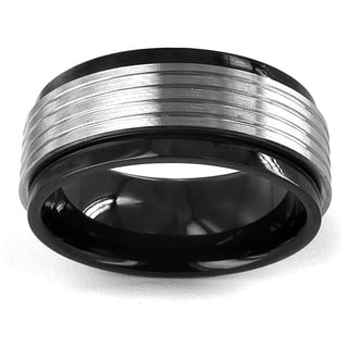 Two-tone Stainless Steel Grooved Spinner Ring