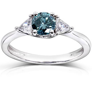 Annello 14k White Gold 7/8ct TDW Blue and White Diamond Ring (G-H, I1-I2)