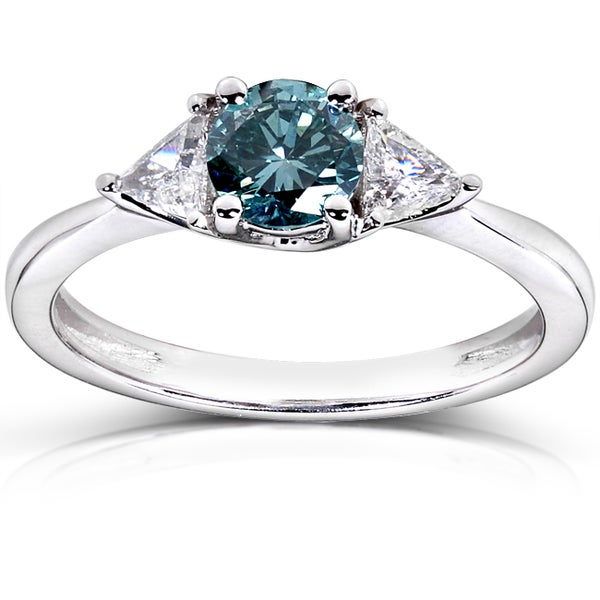 Annello 14k White Gold 7/8ct TDW Blue and White Diamond Ring (G-H, I1-I2)
