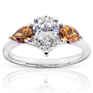 Annello 18k Gold 1 3/4ct TDW Certified White and Champagne Diamond Ring (H, VS2)